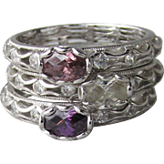 Vintage Set of 3 Tacori IV Epiphany Sterling Silver Purple & Clear CZ Stacking Rings, Size 9
