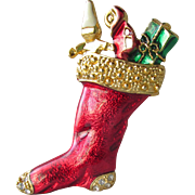 Red Enamel Christmas Stocking with Toys Pin, Vintage Rhinestone Brooch