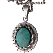 Vintage Mexican Sterling Silver Turquoise Pendant Necklace