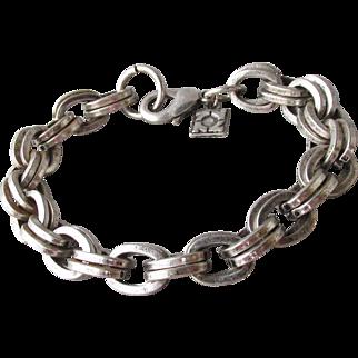 "Vintage Designer Signed Sterling Silver Men's or Lady's Heavy Double Link Chain Bracelet, 8 1/2"" Long"