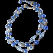 Exceptional Vintage Double-Strand Brilliant Sapphire Blue AB Swarovski Crystal Necklace
