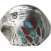 Vintage Native American Unisex Sterling Silver, Turquoise & Coral Chip Inlaid EAGLE Ring, Signed Coyote Head, Size 9.5