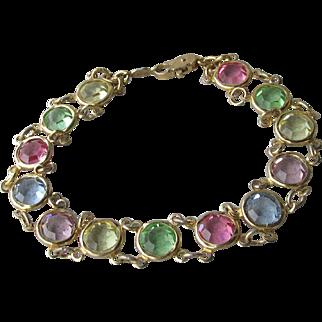 """Pretty Vintage Multi Color Pastel Open Back Crystal 24k Gold Plated Bracelet, Large 8"""" Long"""