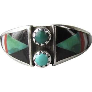 Native American Zuni Signed Delberta Boone Snake Eyes Inlaid Turquoise, Onyx, Coral Ring, Size 8