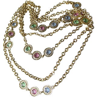 """1960's Vintage 56"""" Long Chain Necklace with Pastel Open Back Crystals"""