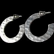Flat Hammered Sterling Silver Hoop Vintage Pierced Earrings