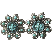 Pair 1950's Faux Turquoise Filigree Flower Scatter Pins
