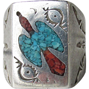 Vintage Signed Native American Navajo Sterling Silver Turquoise & Coral Chip Inlaid Peyote Bird Ring, Size 9.5