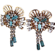 Pair Signed Phyllis Vintage 1940's Retro Gold Filled Dangle Aqua Rhinestone Pins or Pendants