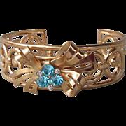 Retro 1940's Signed CORO Gold Tone Bow & Aqua Rhinestone Open Work Vintage Cuff Bracelet by A. Katz