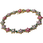 "Vintage Multi Color Sapphire, Ruby Rhinestone Flower Link Bracelet, 7 3/4"""