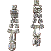 1950's Vintage Signed Weiss Dangle Rhinestone Earrings