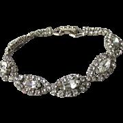 1950's Vintage Signed La-Rel Marquise Crystal Rhinestone Bracelet