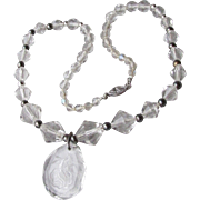 1920's Vintage Art Deco Czech Crystal & Sterling Silver Beads, Intaglio ROSE Pendant Necklace