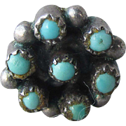 Vintage 1960's SINGLE (1) Zuni Petit Point Turquoise Snake Eyes Sterling Silver Stud Earring