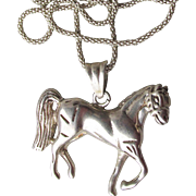 Vintage Sterling Silver Horse Pendant Necklace
