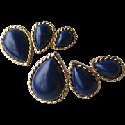 Vintage Signed Trifari Navy Blue Gold-Tone Earrings
