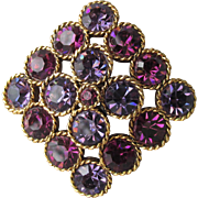 Vintage 1960's Sparkling Two Shades of PURPLE Chunky Rhinestone Pin