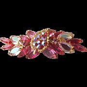 Gorgeous Quality Long Vintage 1960's Pink Aurora Borealis Marquise Rhinestone Pin