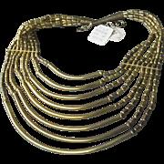 NWT! 1970's Vintage 8 Strand Indie Brass Bib Necklace