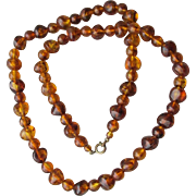 "Vintage 1930's Faux Honey Amber Lucite Bead 30"" Necklace"