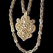 Vintage Trifari 1970's Double Chain Ornate Medallion Pendant Necklace