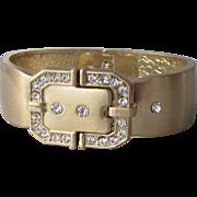 Vintage 1980's Belt Buckle Rhinestone Hinged Bangle Clamper Bracelet
