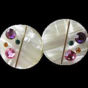 1960's Vintage Op Art Modernist Mother of Pearl & Rhinestone Pierced Button Earrings