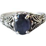 Vintage Sterling Silver & Faux Dark Blue Glass Sapphire Filigree Ring, Size 8