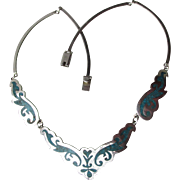 Elegant Vintage Taxco Mexico Sterling Silver Inlaid Turquoise Chip Collar Necklace