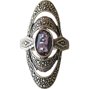 Big Elegant Vintage Sterling Silver, Amethyst & Marcasite Open Work Oval Ring, Size 7.5