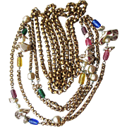 "1960's Vintage Modernist Pair 60"" Long Beads & Brass Rolo Chain Necklaces"