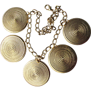 1980's Vintage BIG Dangling Gold Tone Medallions Necklace