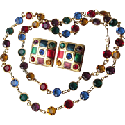 """Vintage 24k Gold Plated Primary Colors Open Back Crystal 30"""" Long Necklace & Earrings"""