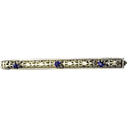 Antique Edwardian Silver Plated Filigree Cobalt Blue Rhinestone Bar Pin