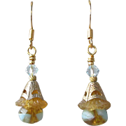 """My Secret Garden"" Lampwork Art Glass & Swarovski Crystal 14k Gold Plated Artisan Earrings, ""Amber Bellflowers On Ice"" #100"