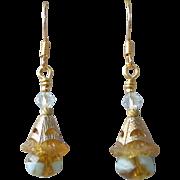 """""""My Secret Garden"""" Lampwork Art Glass & Swarovski Crystal 14k Gold Plated Artisan Earrings, """"Amber Bellflowers On Ice"""" #100"""