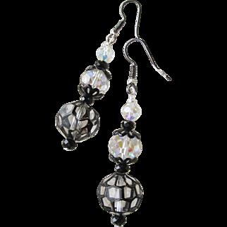 """""""My Secret Garden"""" Lampwork Art Glass Artisan Earrings, """"Queen Anne's Black Lace"""" #104"""