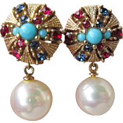 Signed CINER Vintage Faux Pearl, Turquoise, Ruby, Sapphire Rhinestone Jewels of India Earrings