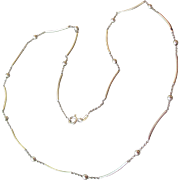 Delicate Vintage Sterling Silver Round & Tube Beads on Chain Necklace