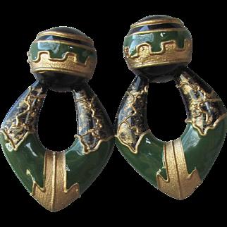 Massive 1980's Etruscan Revival Olive Green & Gold Metallic Lacquer Pierced Door Knocker Earrings