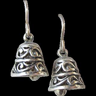 Vintage Balinese Sterling Silver Dangle Pierced Earrings, Real Little Bell Charms