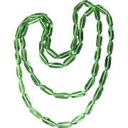 Vintage 1920's Depression Glass Green Tube Bead Long Flapper Necklace