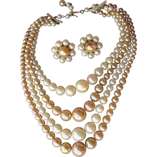 Unusual Vintage 4 Strand Iridescent Taupe Lucite Bead Necklace & Earrings Set