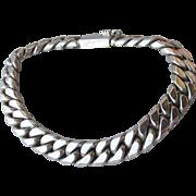 "Vintage Taxco Mexico Unisex Men's Heavy Sterling Silver Chain 8"" Bracelet"