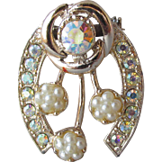 Sparkling Vintage 1960's Aurora Borealis Rhinestone & Faux Pearl Good Luck HORSESHOE Pin
