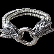 DRAGON Clasp Chunky Artisan Rhinestone Goth Boho Bracelet