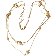 Vintage Graduated Three-Strand Gold Tone Chain with Wire-Wrapped Faux Pearls Necklace