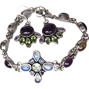 Vintage Designer Nicky Butler Multi Gemstone Sterling Silver Bracelet & Earrings, Moonstone, Amethyst, Peridot, Citrine