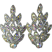 1960's Vintage Brilliant Aurora Borealis Rhinestone Rhodium Plated LEAF Clip Earrings